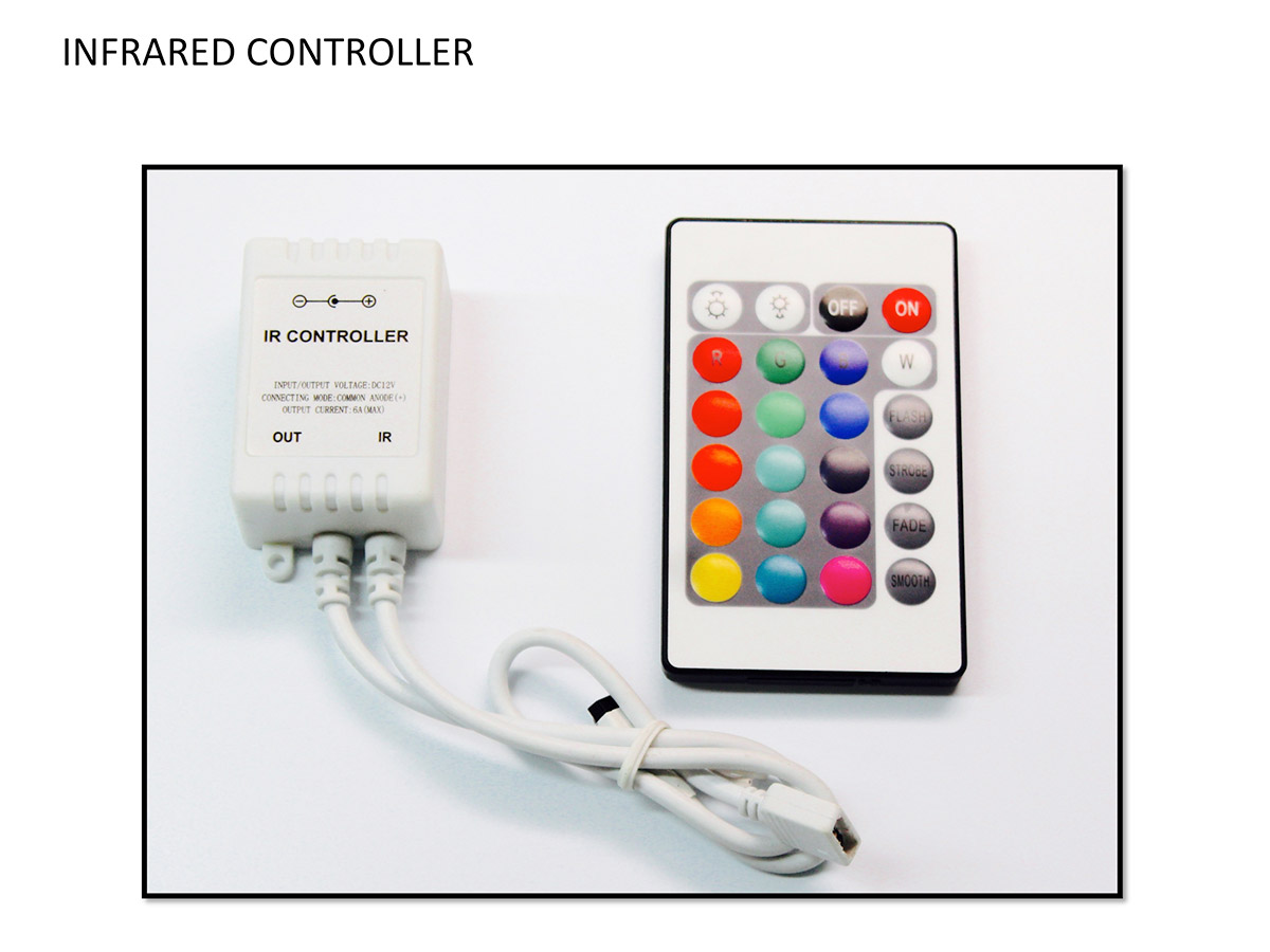 Infrared remote control for rgb multicolor colorshift led halo rings