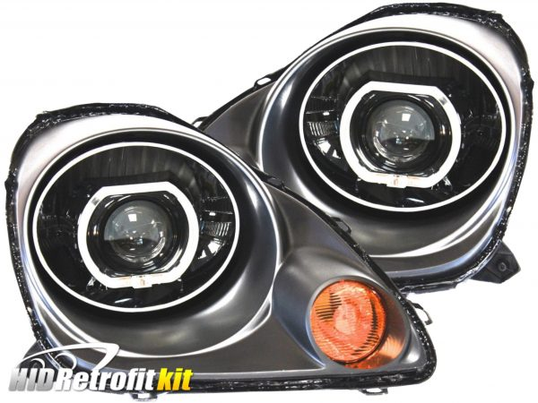 2000-2003 Toyota MR2 Spyder Bi-Xenon HID Retrofit Black Chrome Square LED Headlights