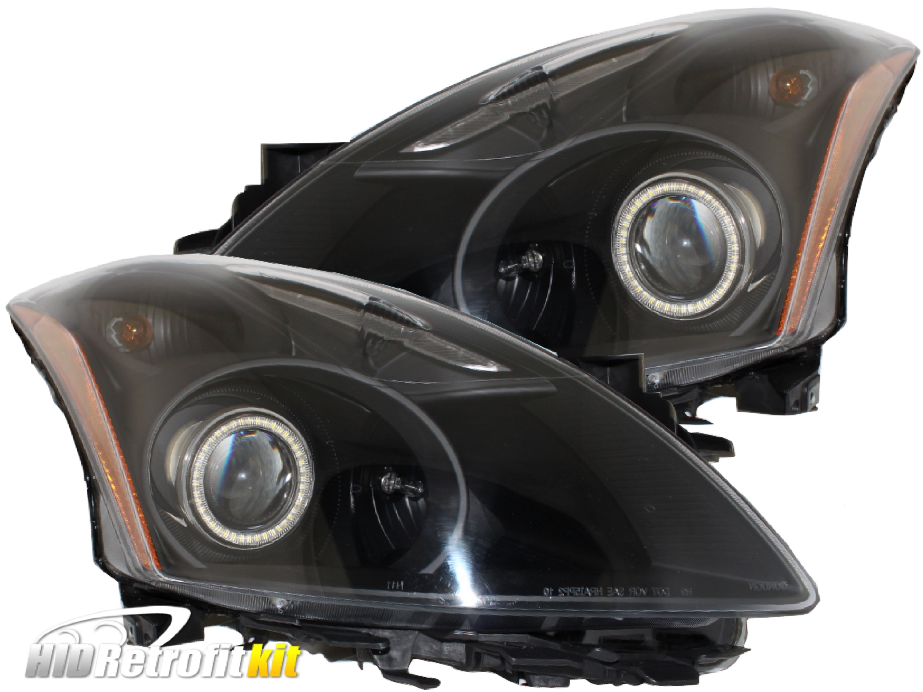 2010 2012 nissan altima sedan bi xenon hid retrofit headlamps with 2010 2012 nissan altima sedan bi xenon hid retrofit headlamps with white led halo vanachro Images
