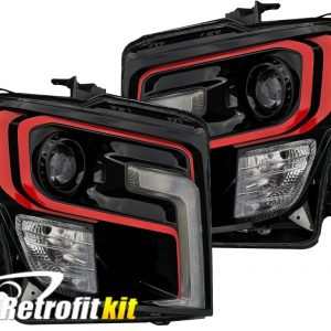 16-18 Nissan Titan Black LED Projector Headlights