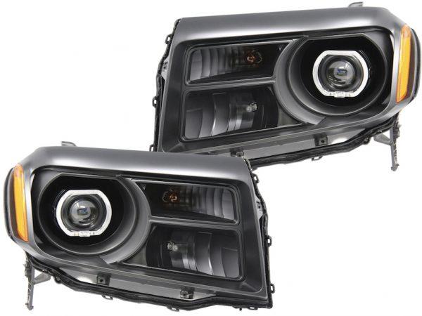 12-15 Honda Pilot LED Projector Black Headlights