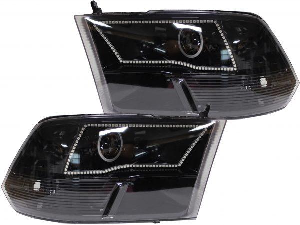 Dodge RAM Custom LED Projector Black Headlights 2009-2017