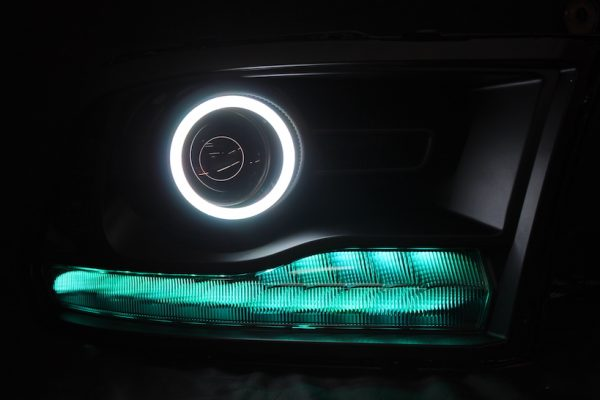 2013-2017 RAM 1500 LED Halo Projector Headlights Black