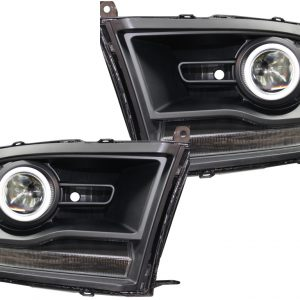 2013-2017 RAM 1500 LED Halo Projector Headlights Black