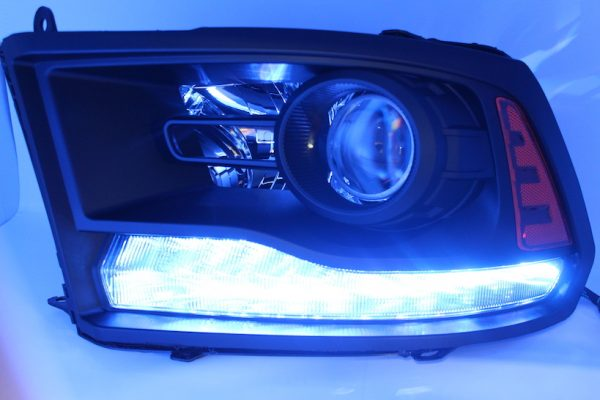 2013-2017 RAM 1500 Black Smoked LED Projector Headlights