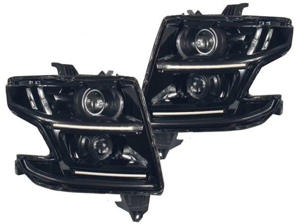 2015-2018 Chevrolet Tahoe Custom Black LED Projector Headlights