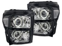 2011-2016 Ford F-250 F-350 Black Chrome Headlights LED Halo Retrofit