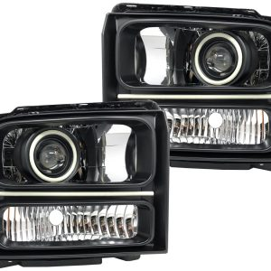 2005-2007 Ford F-250 F-350 Halo Projector LED Switchback Headlights