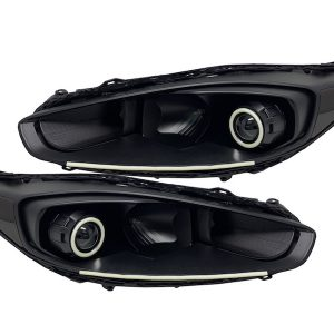 2014-2017 Ford Fiesta Black Projector Headlight Led Halos