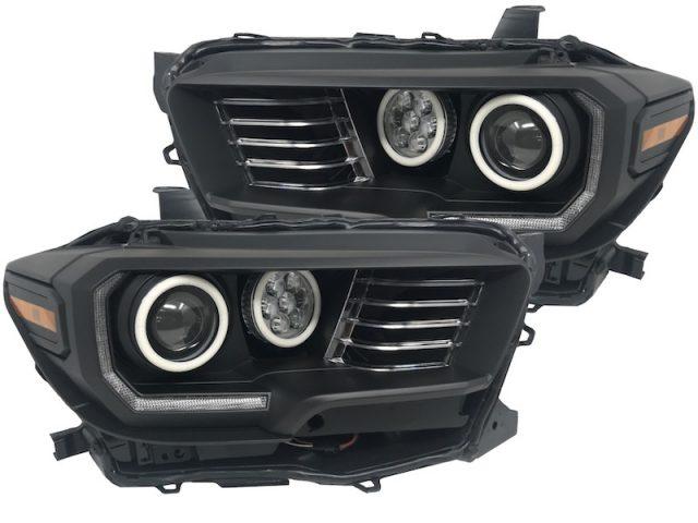 16-19 Toyota Tacoma Quad Retrofit Projector RGB Led Halo Headlights