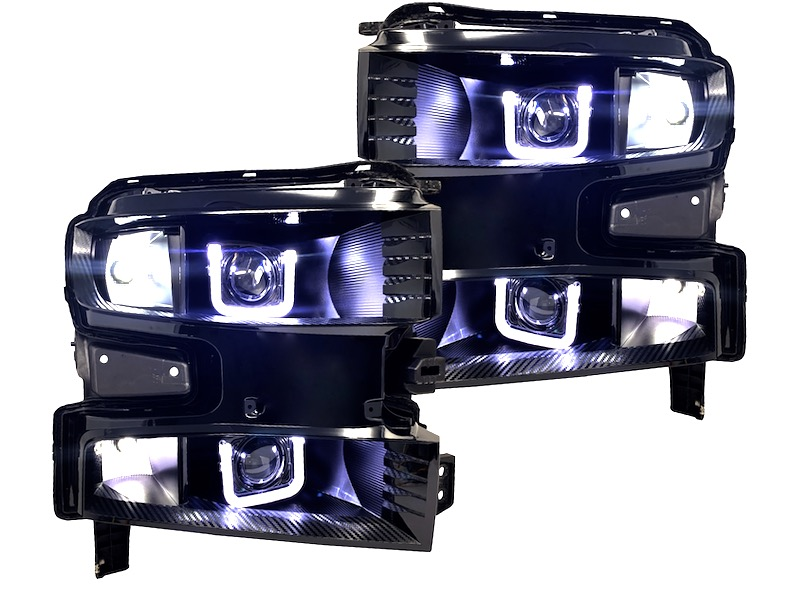 2019 Chevrolet Silverado Custom Black Retrofit Led Headlights