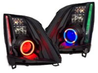08-14 Cadillac CTS Black Retrofit RGB Led Halo Headlights