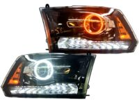2009+ Ram Custom Black Projector LED Halo Headlights